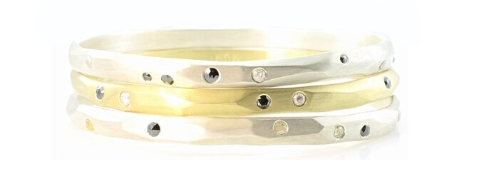 Solid 18k gold and sterling silver, carved bangle bracelets with flush-set diamonds