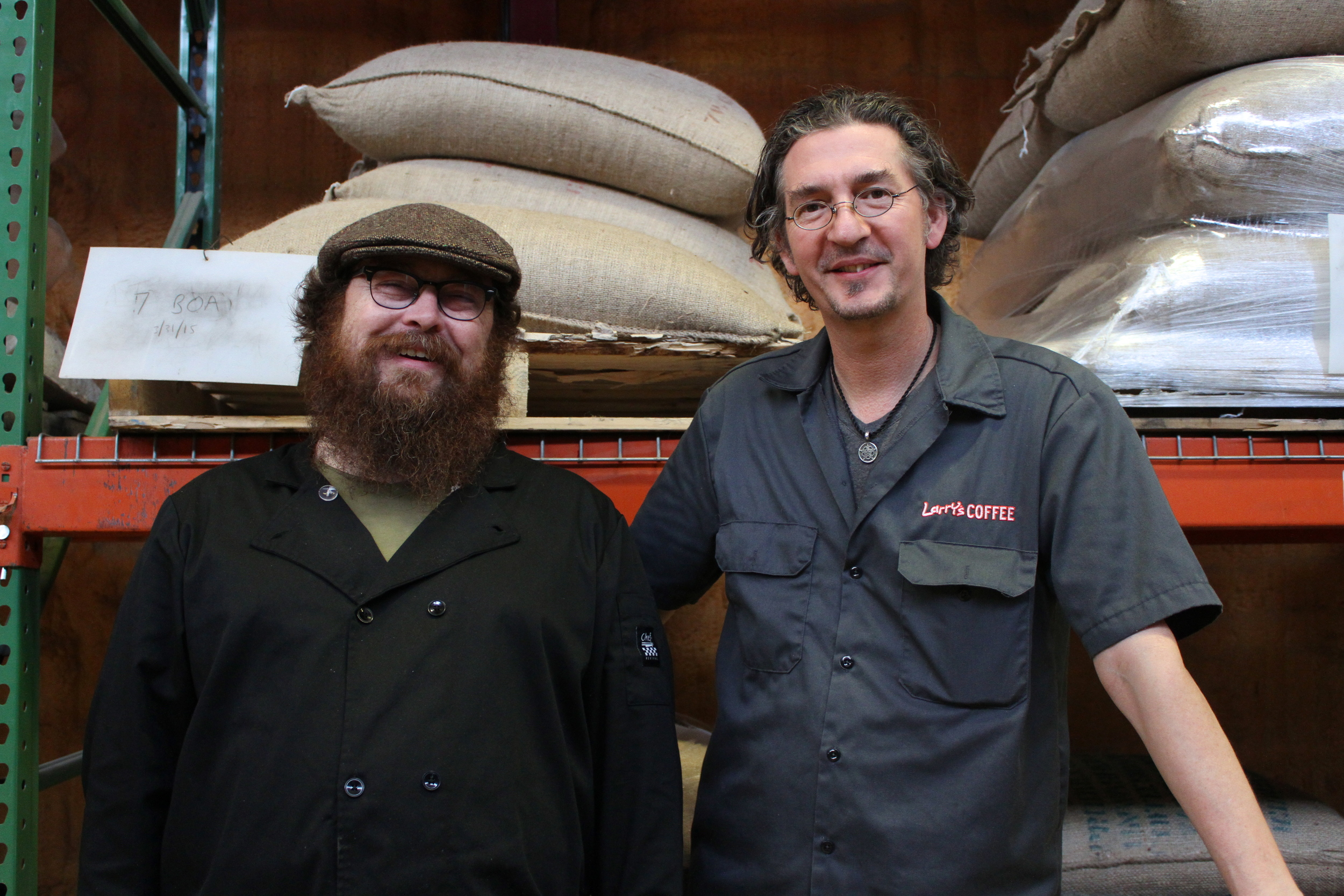Nathan Phillips (left) and Larry Larson of Larry's Coffee