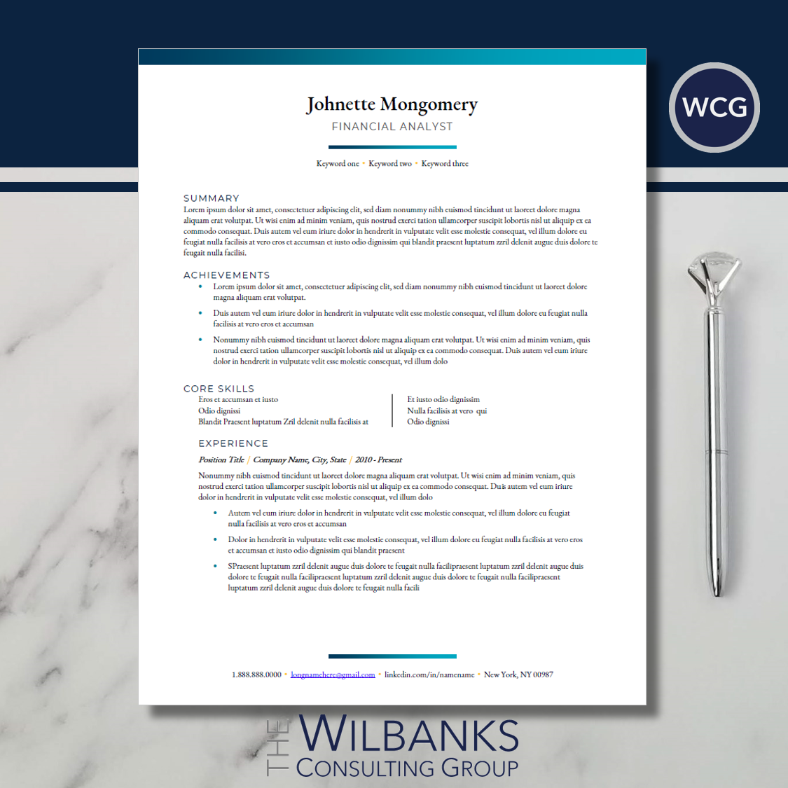 Traditional Resume Template | Design, Structure and Flow helps WCG clients  get interviews | The Wilbanks Consulting Group
