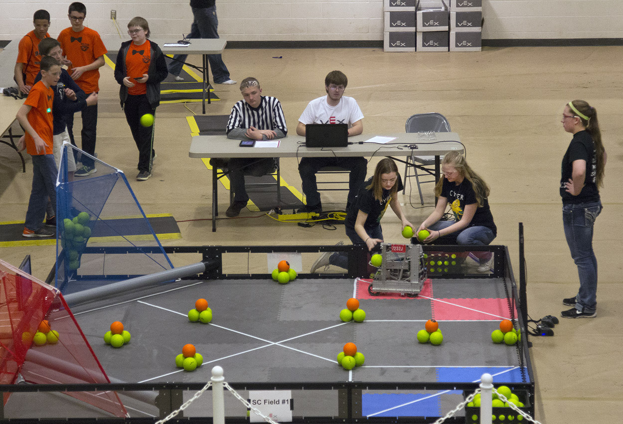 The Cyber Pirates compete during the VEX Missouri State Robotics Championship in Rolla on Saturday. The team demonstrates their computer programming skills during this portion of the competition, different than the head-on competing.