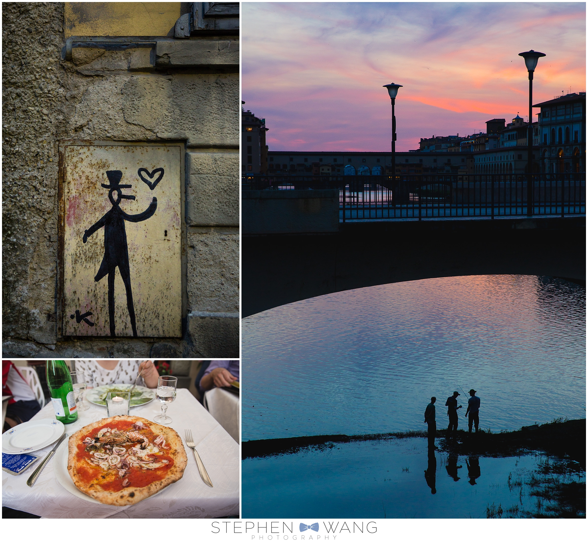 Some penguin graffiti, a delicious pizza pescatore, and fishermen in the Arno at dusk.