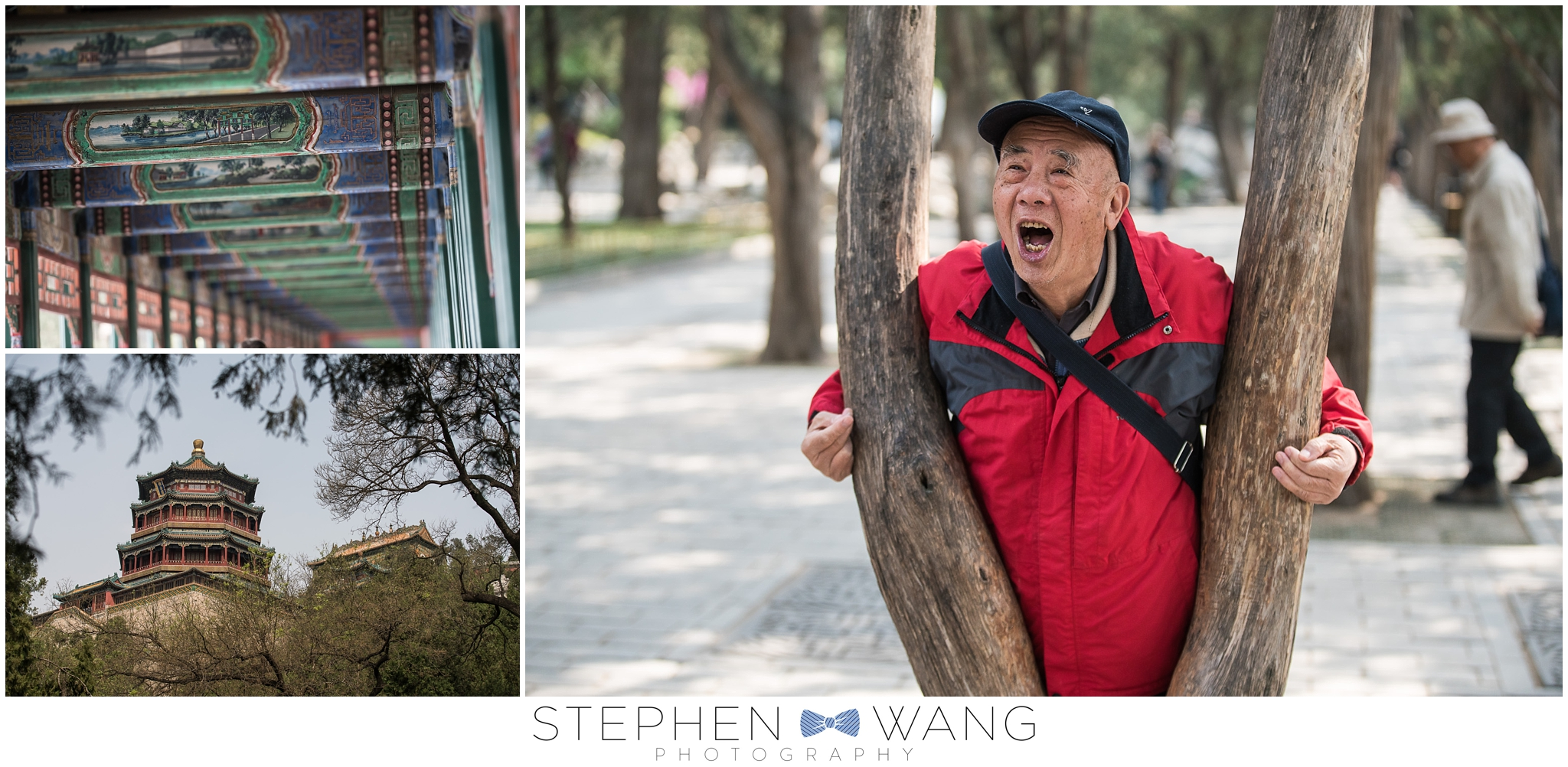 At the Summer Palace, being amused by red jacket man, the world's longest corridor, and an impressive pagoda.
