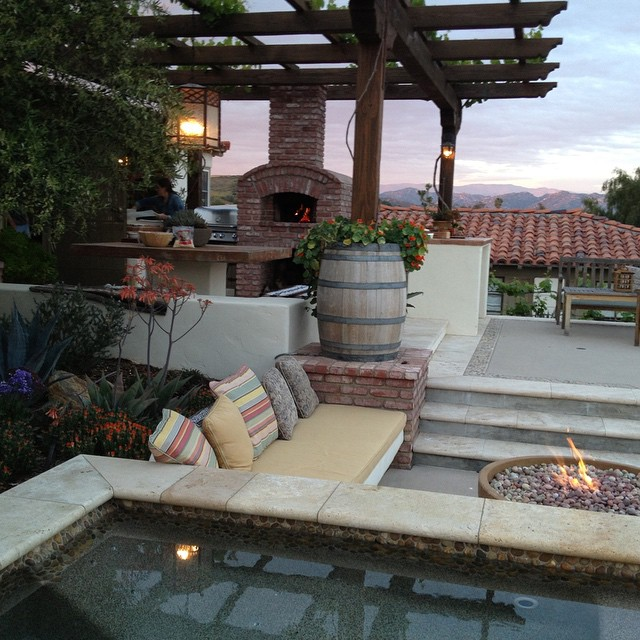 Travertine pool coping, fire bowl, patio cover, outdoor barbecue