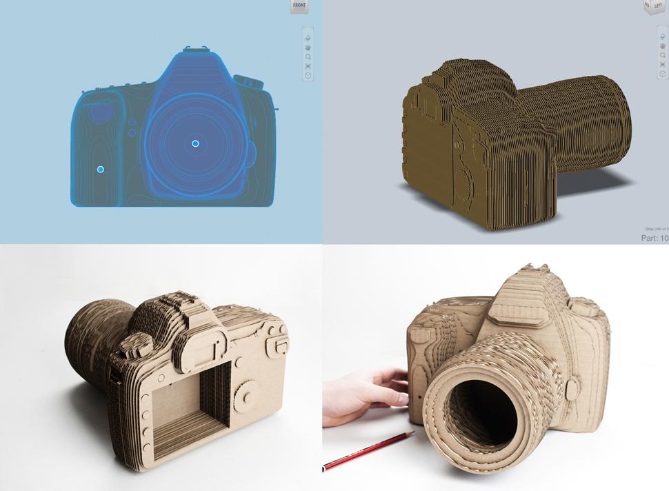 Laser cut cardboard 3D camera.