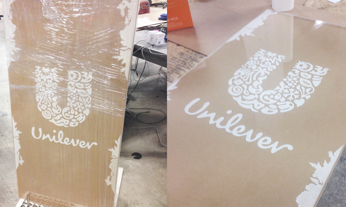 Laser cut and engraved acrylic panel for Unilever Best Foods