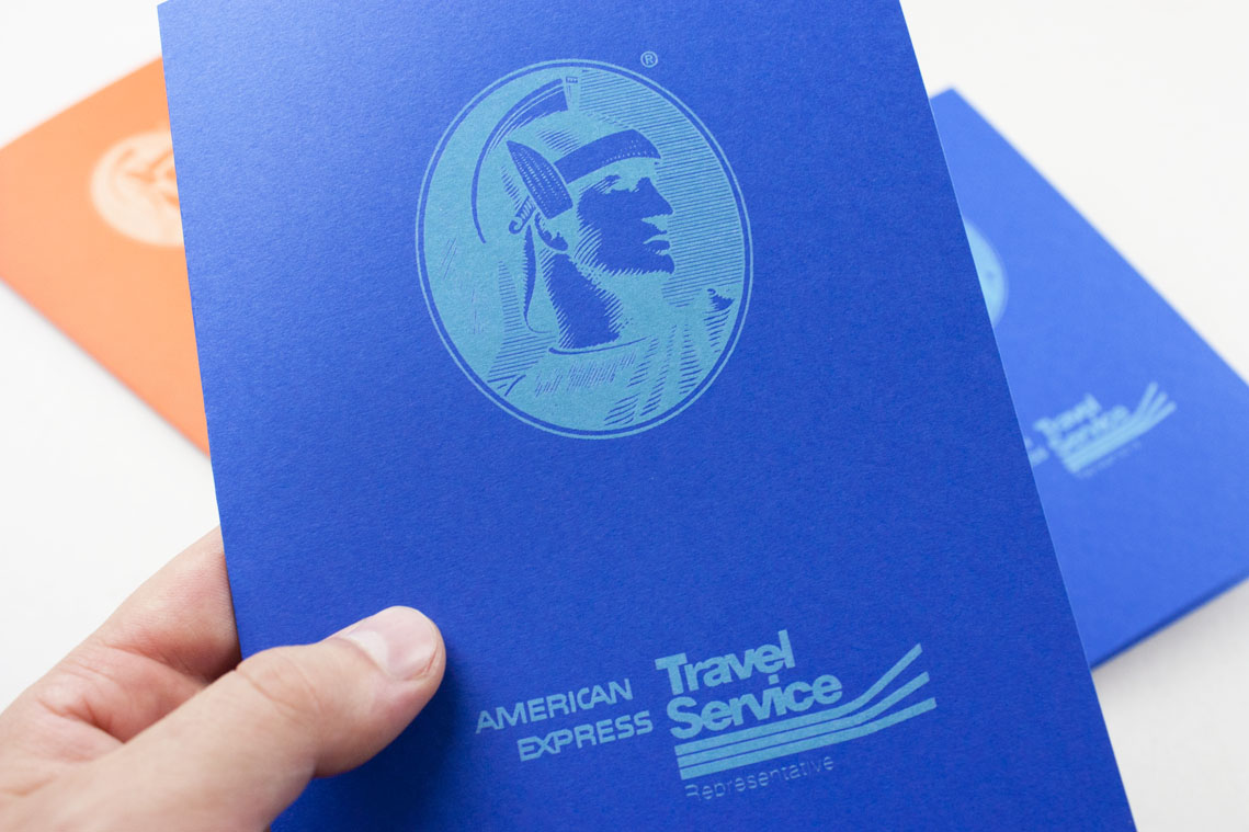 Laser engraved American express logo on paper