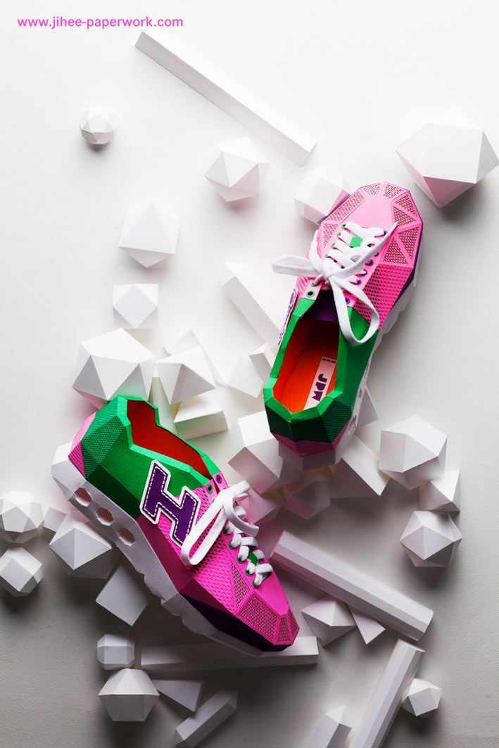 Laser cut paper shoes by paper artist lee jihee