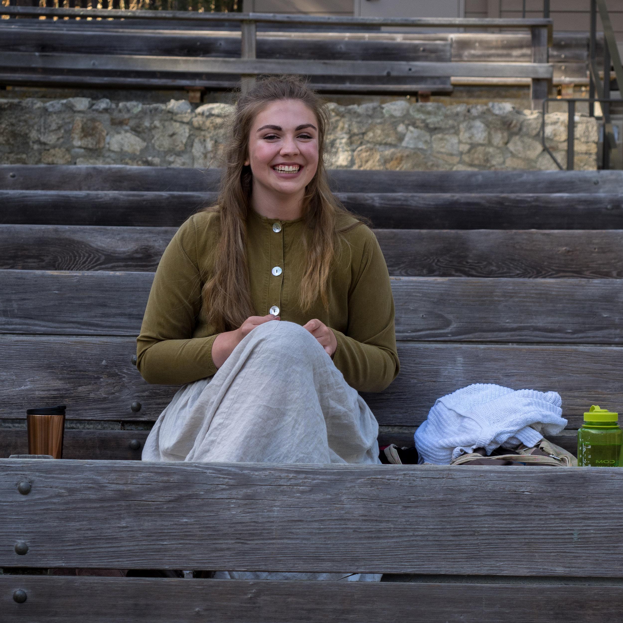 Ashley Lyon smiles as she awaits her call for Man of La Mancha 2017