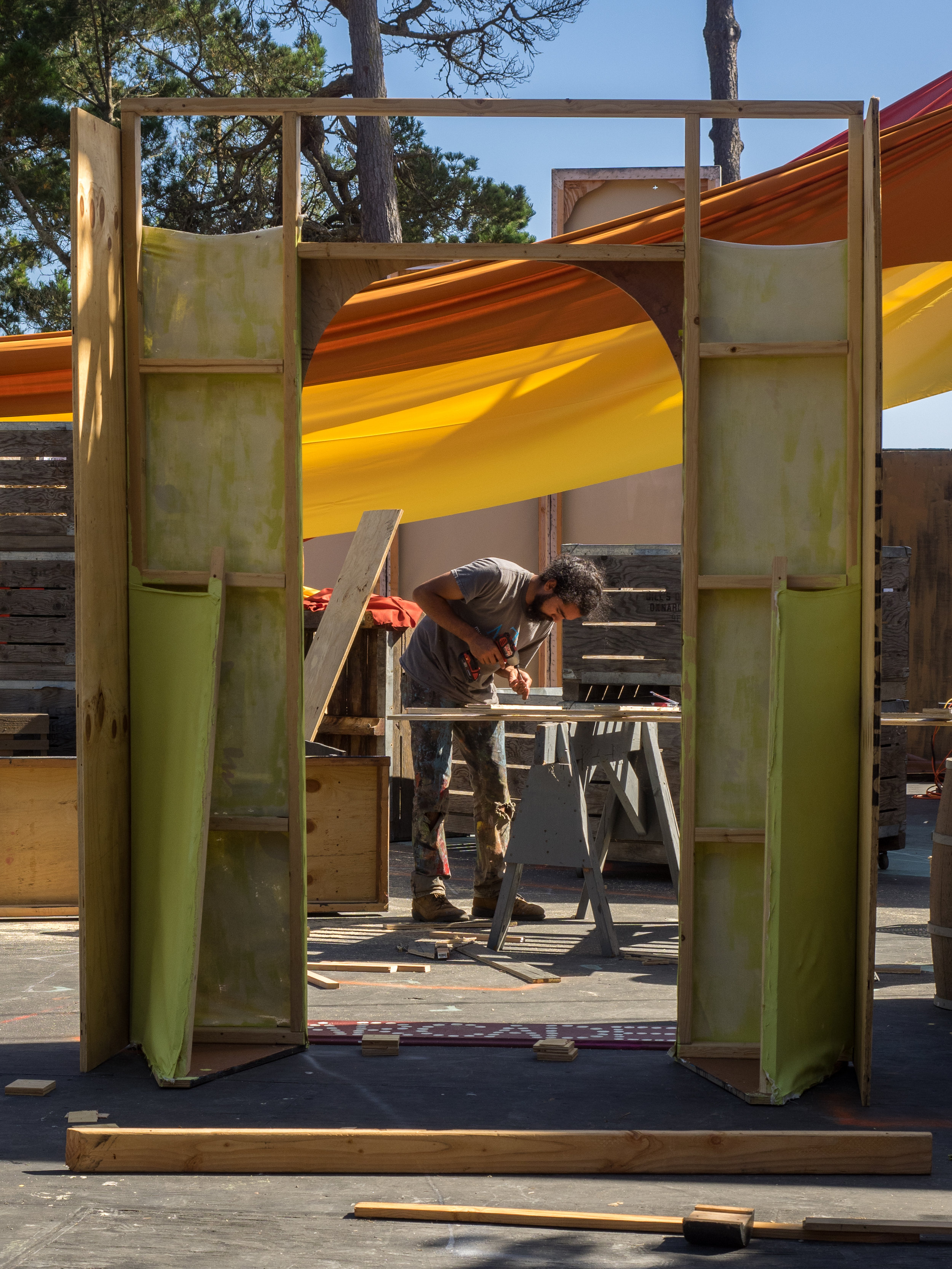 Justin Gaudoin tirelessly works on set pieces for Pippin and Man of La Mancha