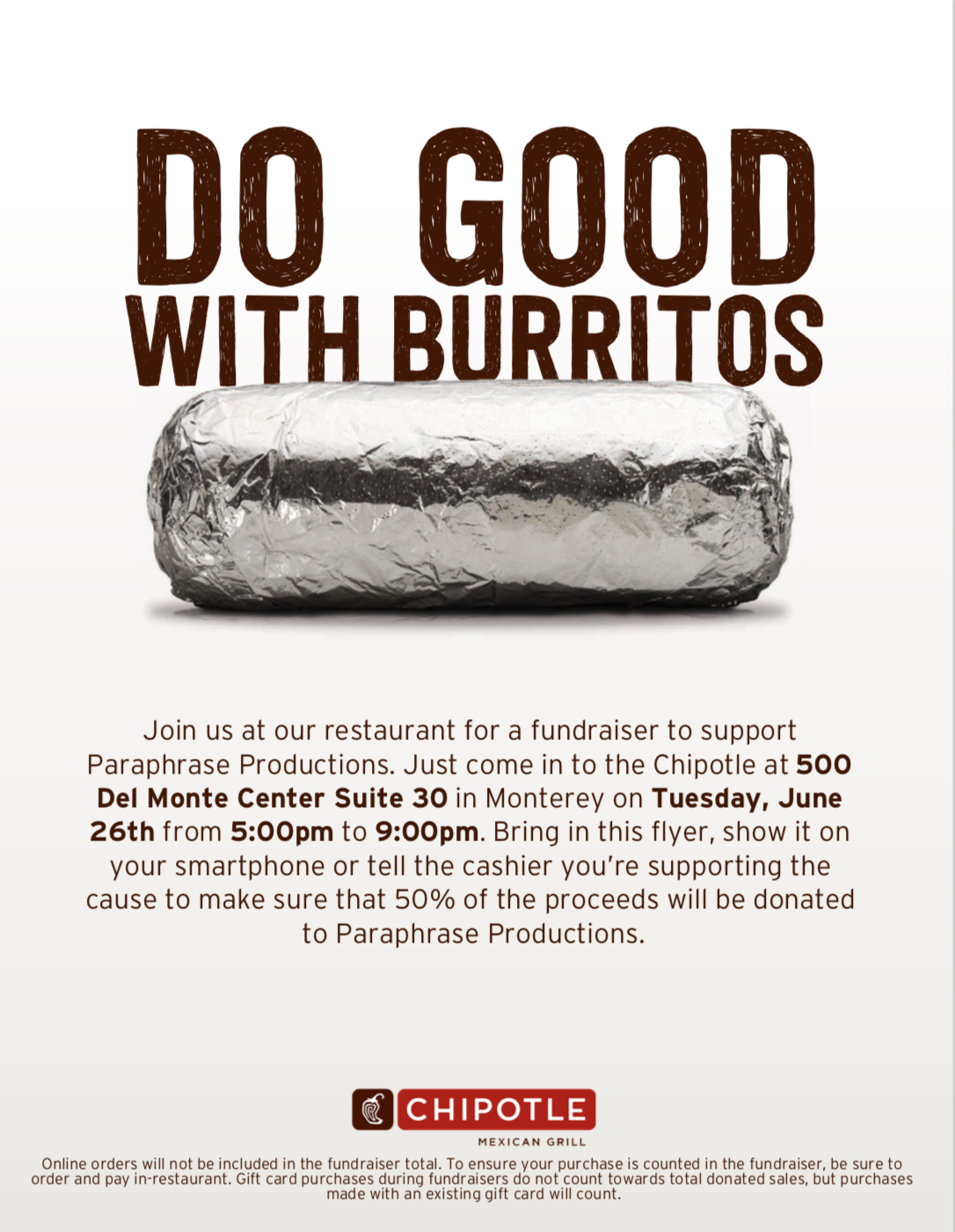 Bring a printed copy of this flyer or show it on your mobile device to make sure 50% of your purchase goes back to Paraphrase!