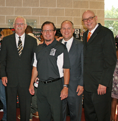 left to right: Bob Conaway, Yamaha; Lamar Burkhalter, Percussion One; Troy Wollwage, Yamaha; John Wittmann, Yamaha.