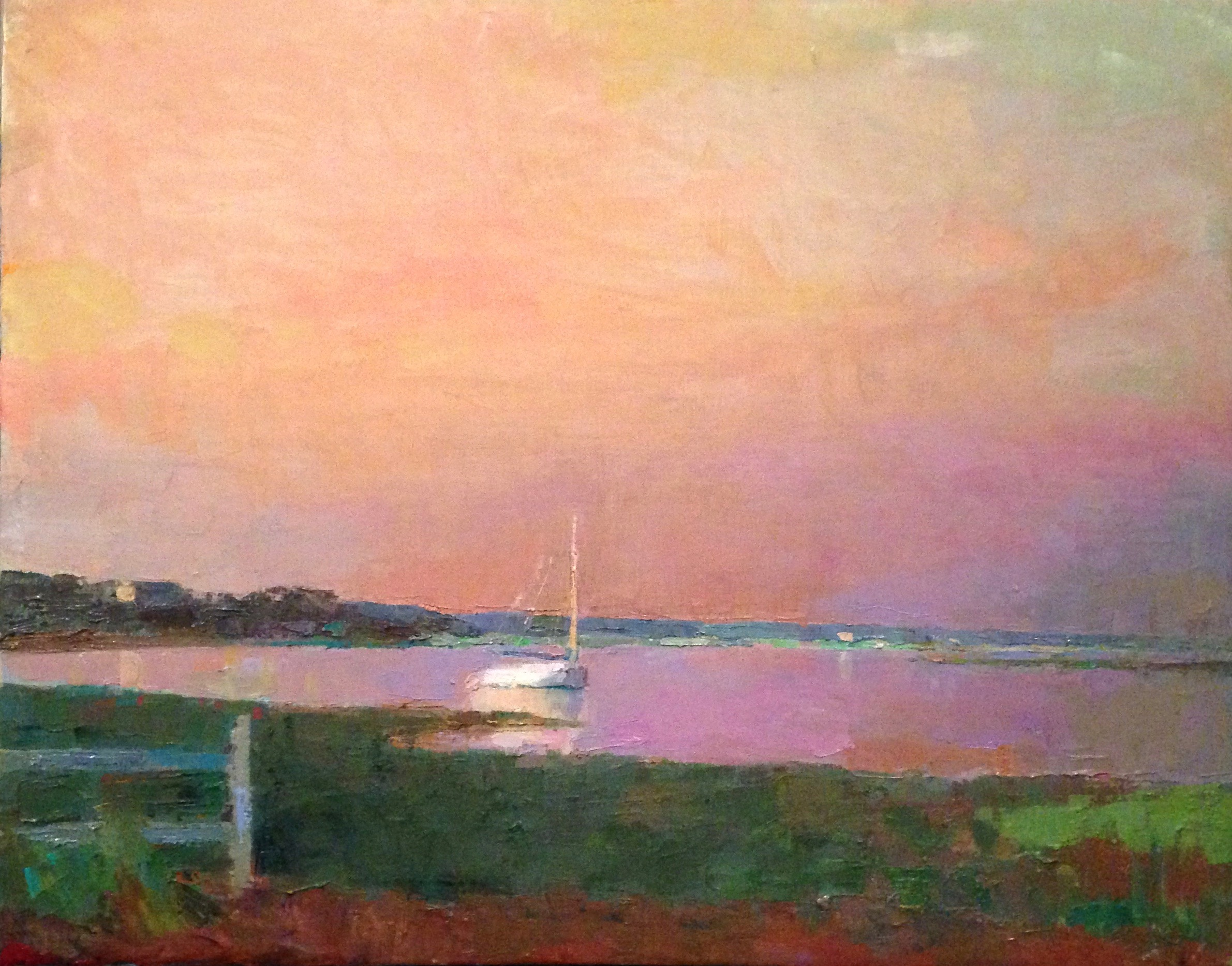 #6851 Catboat Sunrise 22x28 Oil studio copy.jpg