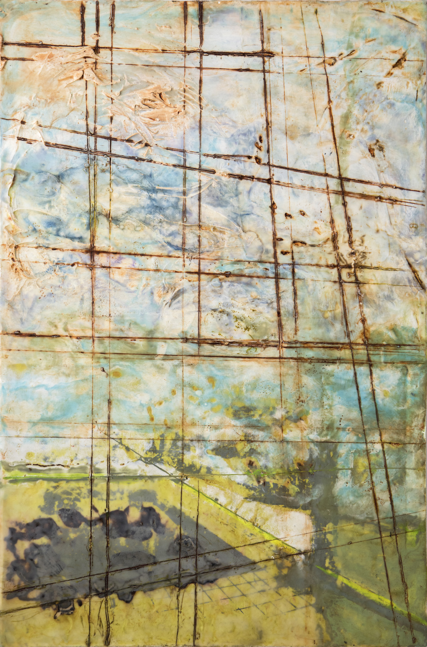 Binnie Birstein, Compound, 2017; encaustic, silkscreen, encaustic gesso, oil wash, joint compound, on panel; 36 x 24 inches Photo: Elisa Keogh