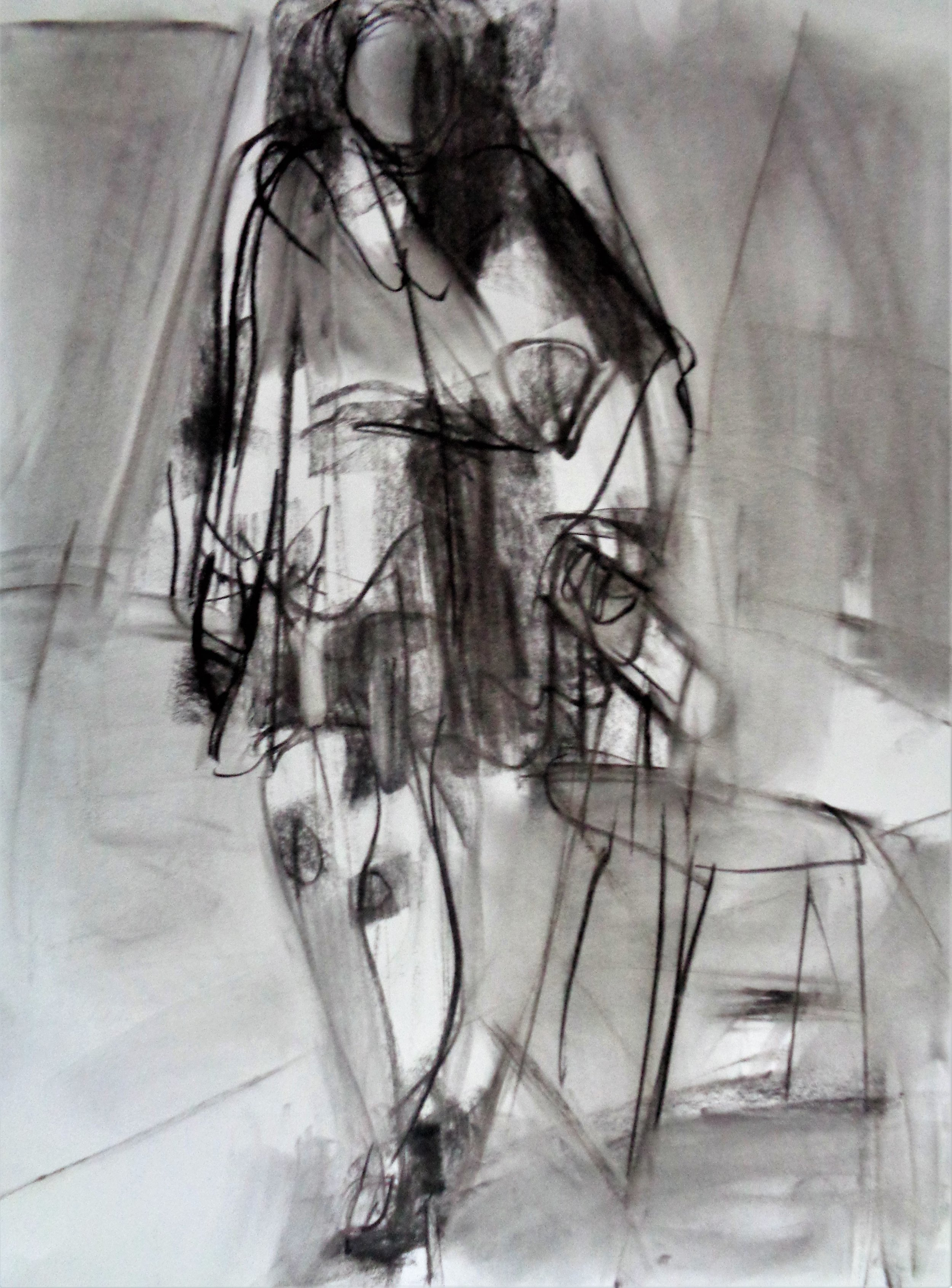 Model in a Red Dress, 2019, Charcoal on Paper, 24 x 18 inches by Artist Laura Shabott.JPG