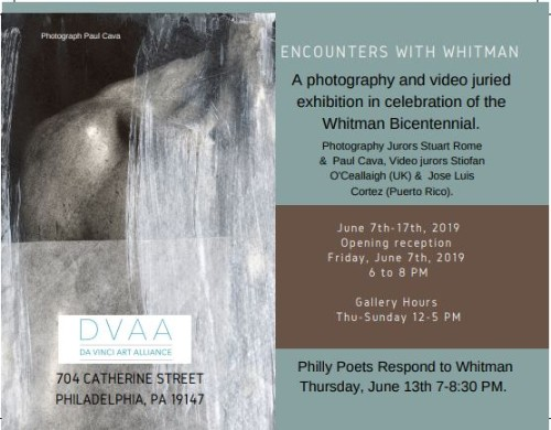 Join SEXx Interactive collective member David Acosta for:  Encounters with Whitman  - a juried exhibition hosted @ DVAA in Gallery 1 Casa de Duende + Da Vinci Art Alliance present  Encounters with Whitman  , a two-part photography and video exhibition in celebration of the Whitman Bicentennial.