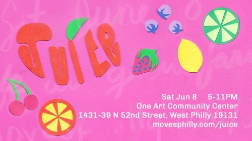 JUICE   is a vision of a QTPOC-centered Pride festival. Intersecting visual art, music, performance, film, and sustainability, JUICE brings together Philadelphia's QTPOC by showcasing and celebrating our communities while also promoting an exchange of resources. JUICE features: a bazaar-like vendor's space, a film screening after sunset, several hours of music and performance, and so much more!