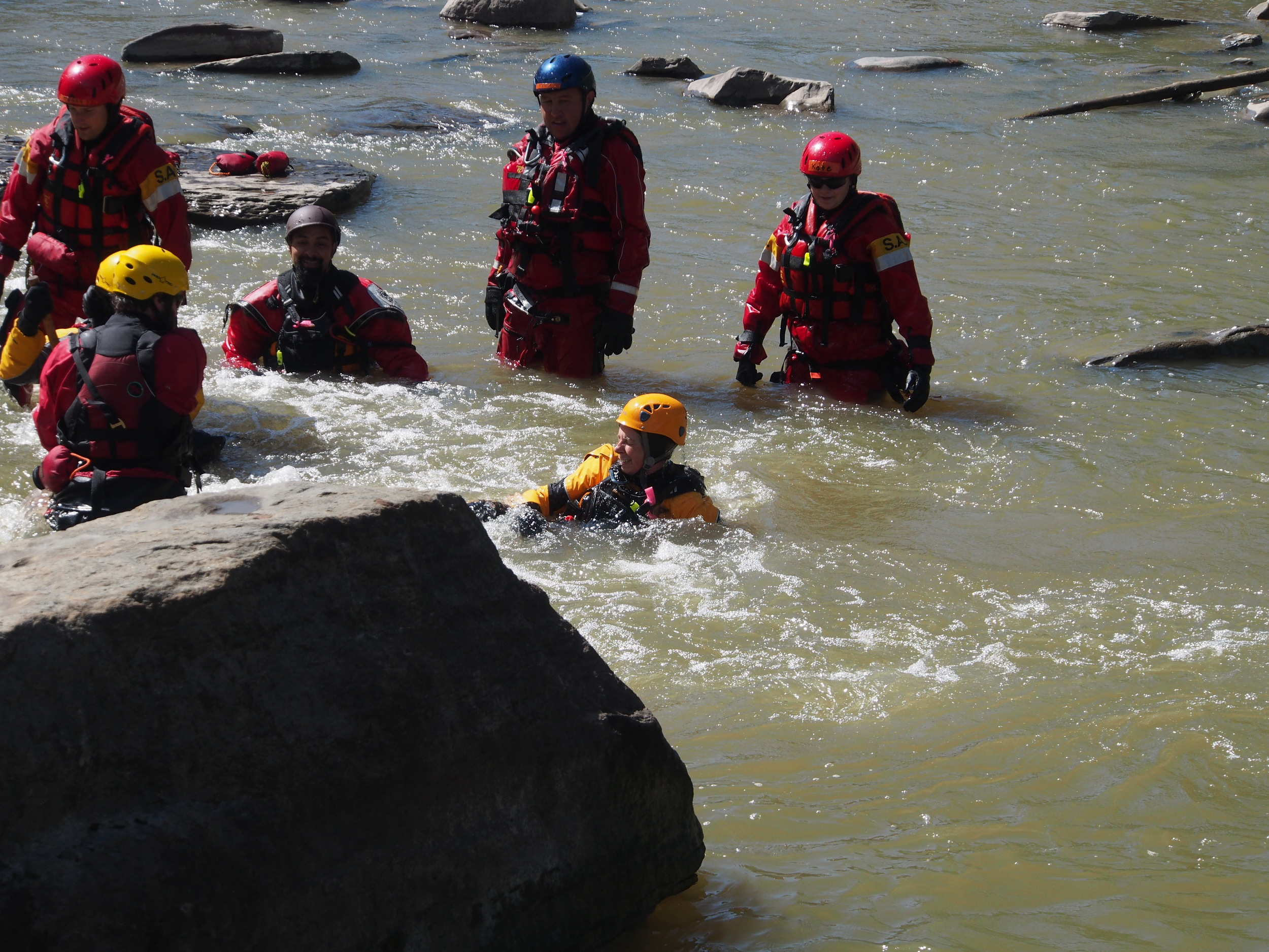 Escaping from foot entanglements during a swiftwater course.
