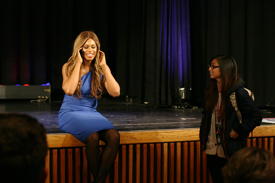 Laverne took time after her talk to personally call a student's brother who was dealing with personal identity issues.