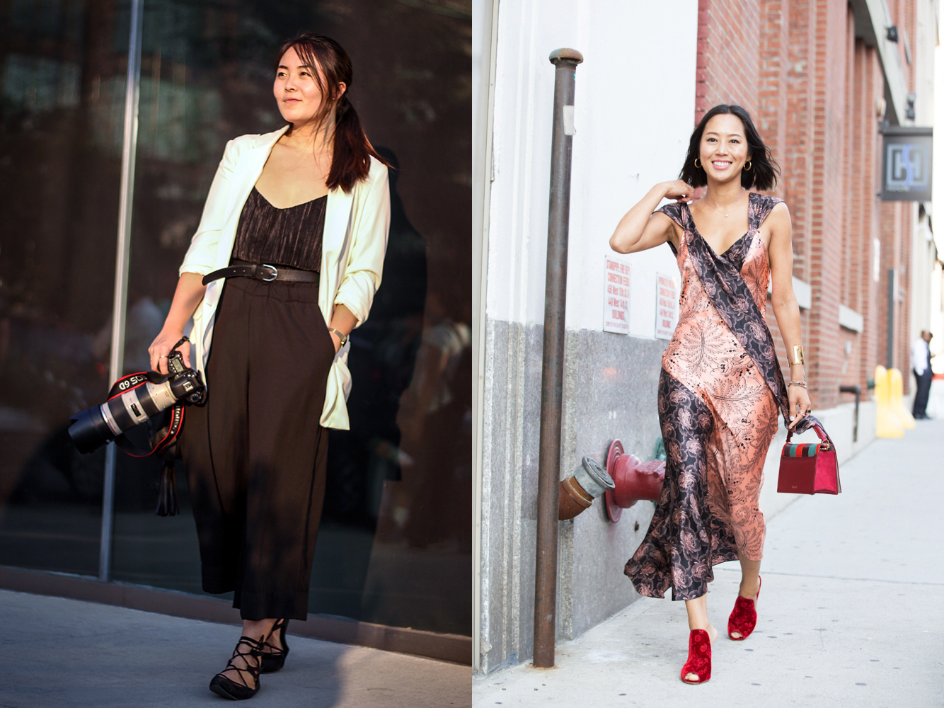 Photo of me (left) by  Gizela Zaqueu . Wearing an outfit that costs less than my lens rental, and wishing I could look like  Aimee Song  (right).