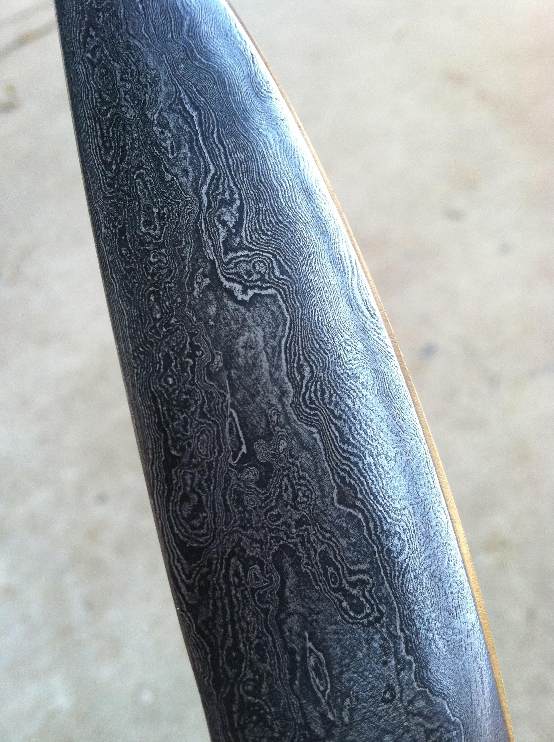 Detail. Damascus Steel Blade