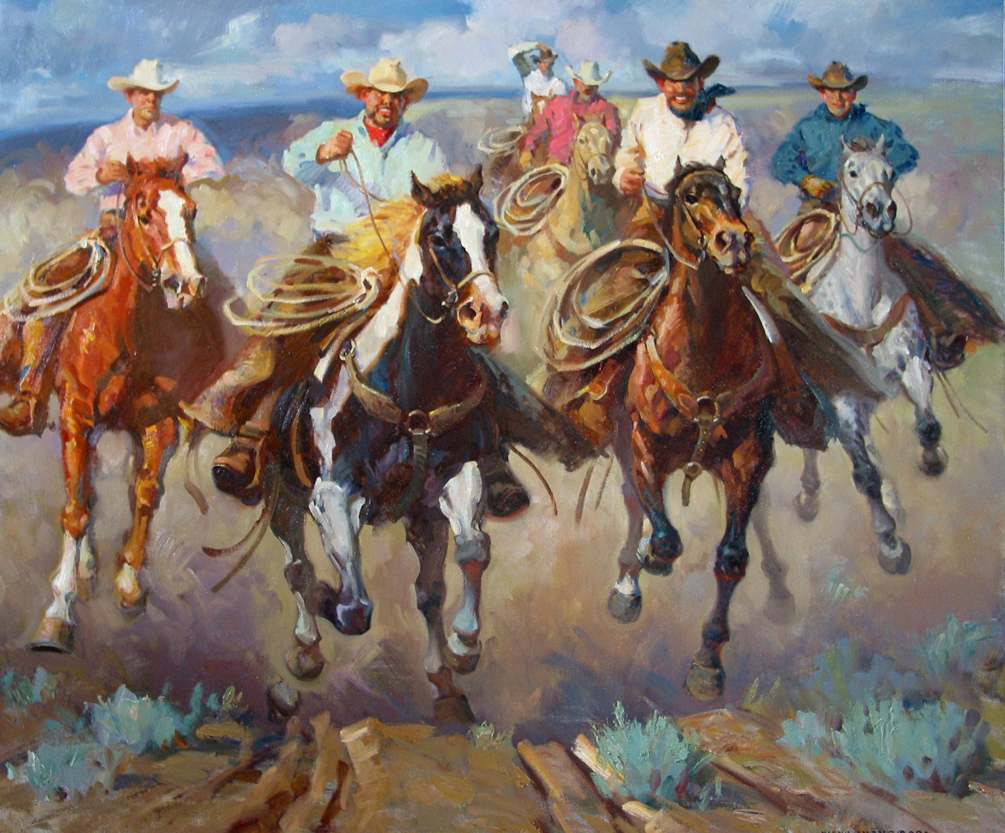 "Racing to the Cantina 48"" x 60"" SOLD"