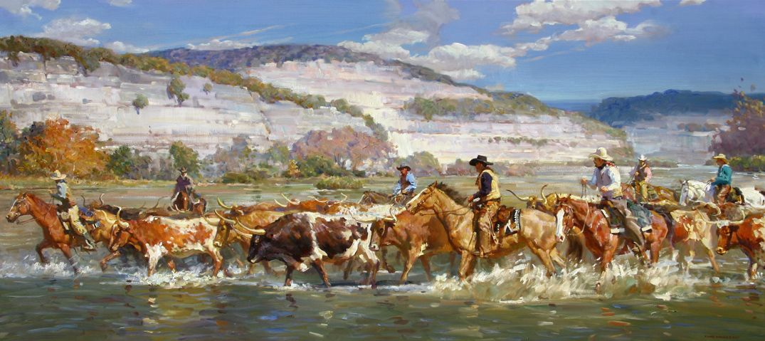 "Brazos River Roundup 36"" x 80"" SOLD"