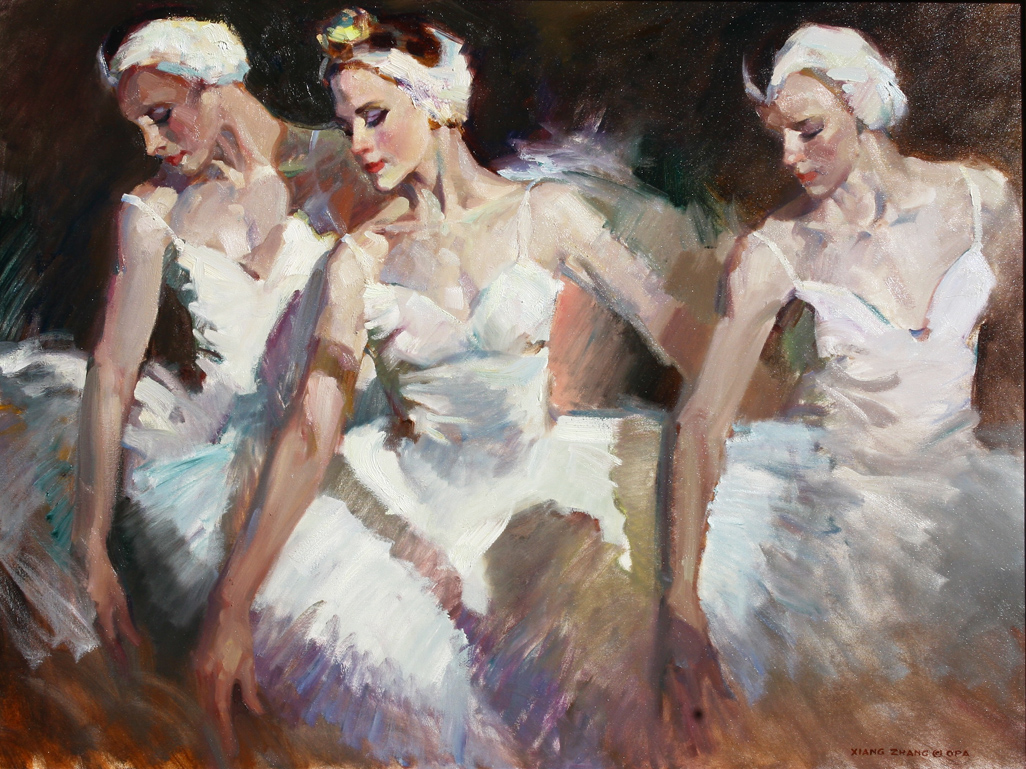 "Three Swans 32"" x 40"" A.C."