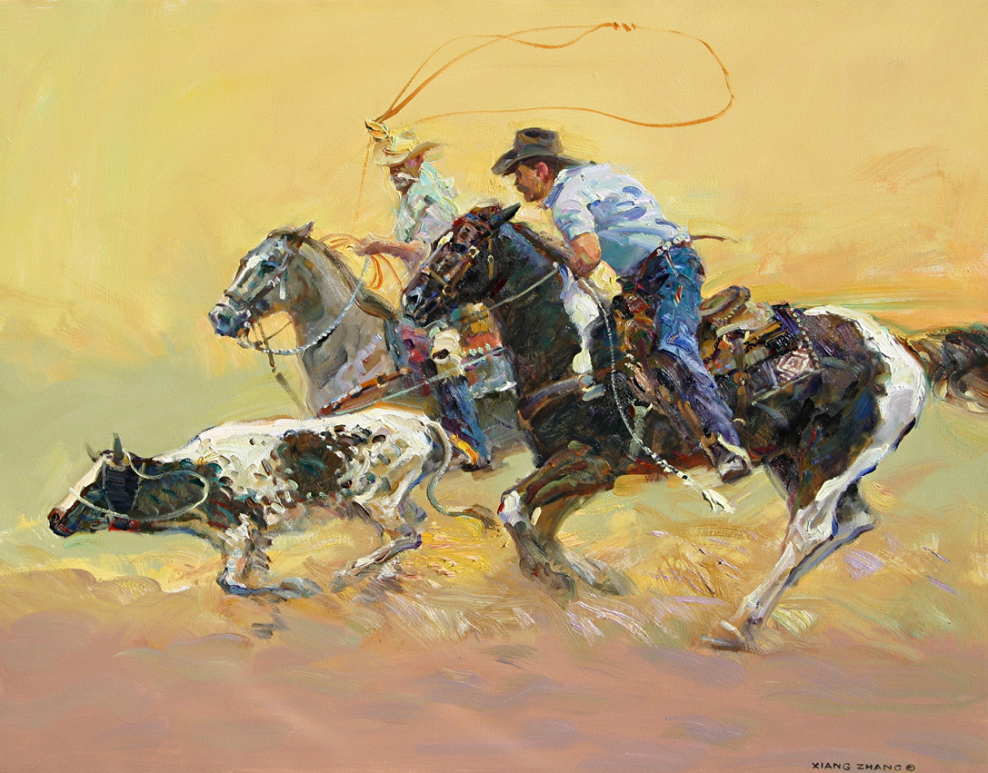 "Team Roping 25"" x 32"" SOLD"
