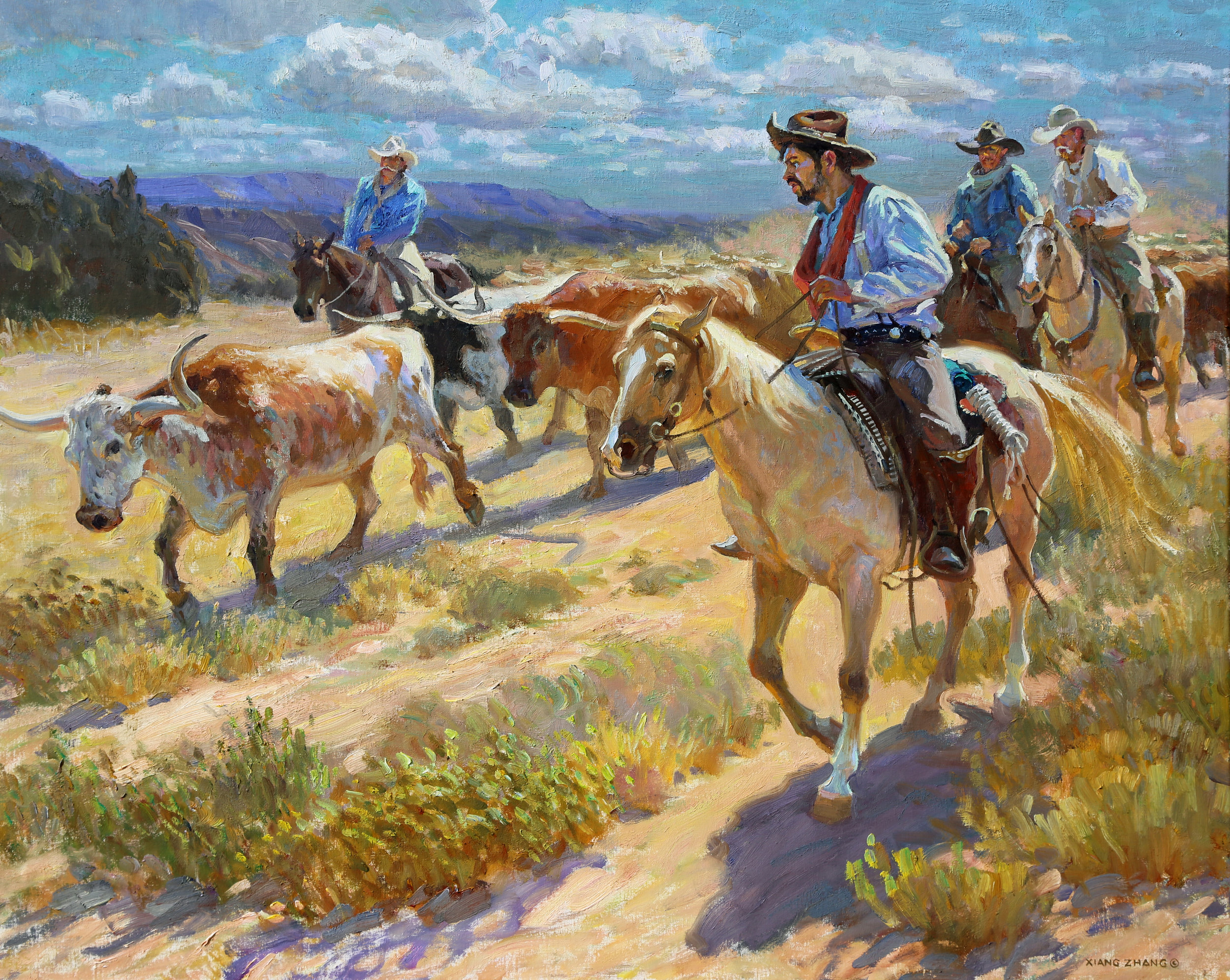 "Moving Down the Trail  32"" x 40"""