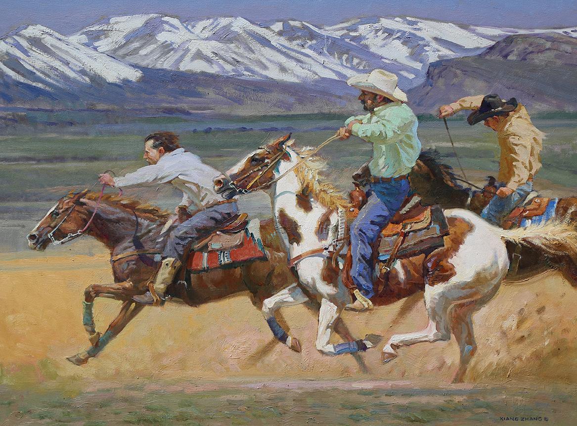 """Horse Racing in Colorado  30"""" x 40"""""""