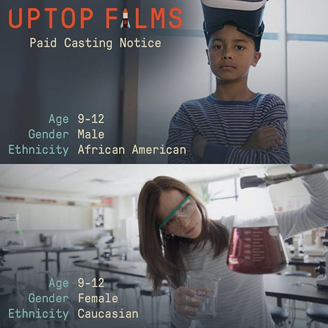 Paid. Short Film Casting Notice. Casting 1 African American Boy Ages 9-12 and 1 Caucasian Girl Ages 9-12. Non-Speaking Roles. Two day shoot in the Twin Cities, early July (exact date TBD). Upload your Headshot and Resume here ––  uptop.video/lemonade