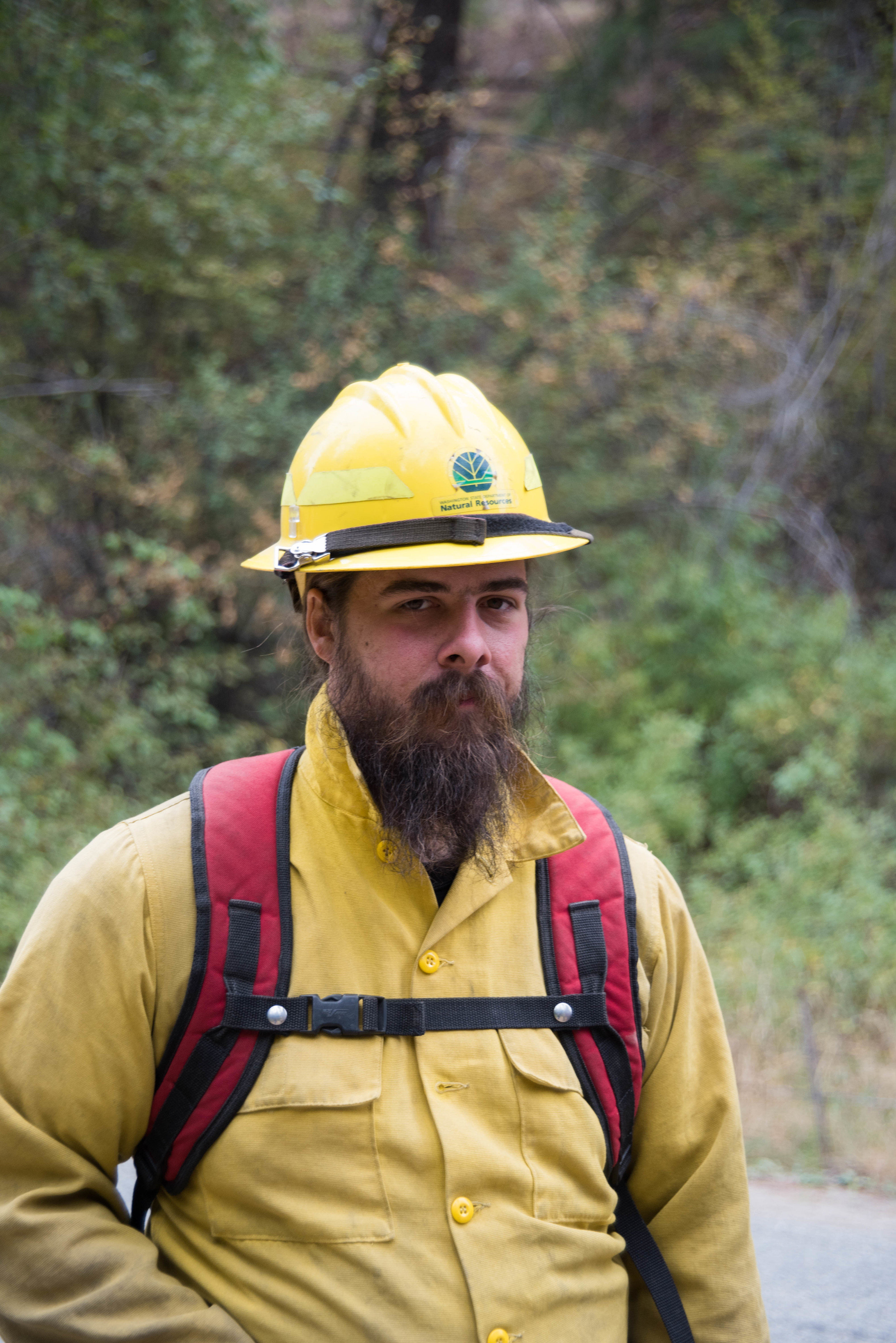 Wildfire fighter Byron Florence is part of a DNR crew from the Olympic Peninsula.  One of the many things to be on the lookout for according to Byron are bears and cougars.
