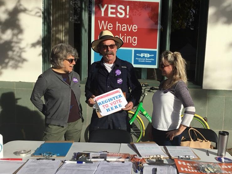 From left to right: Club Members Jeanne Nader, Alan Pryor, and Michelle Pryor (no relation to Alan) enjoy a sunny day of civic duty.