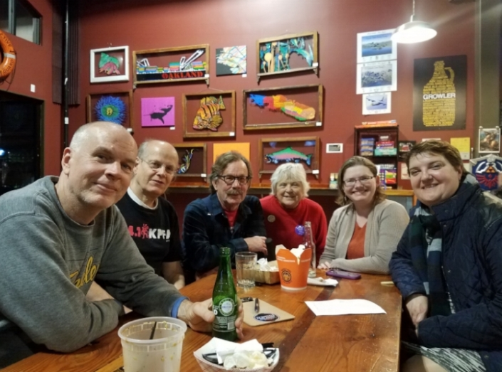 CADC members enjoy a social event together. From Left to right Dan Wood, Jeff Gould, Alan Pryor, Cheri Johansen,  Rosemary Jordan, Iulia Moldovan, and Victoria Jongetjes
