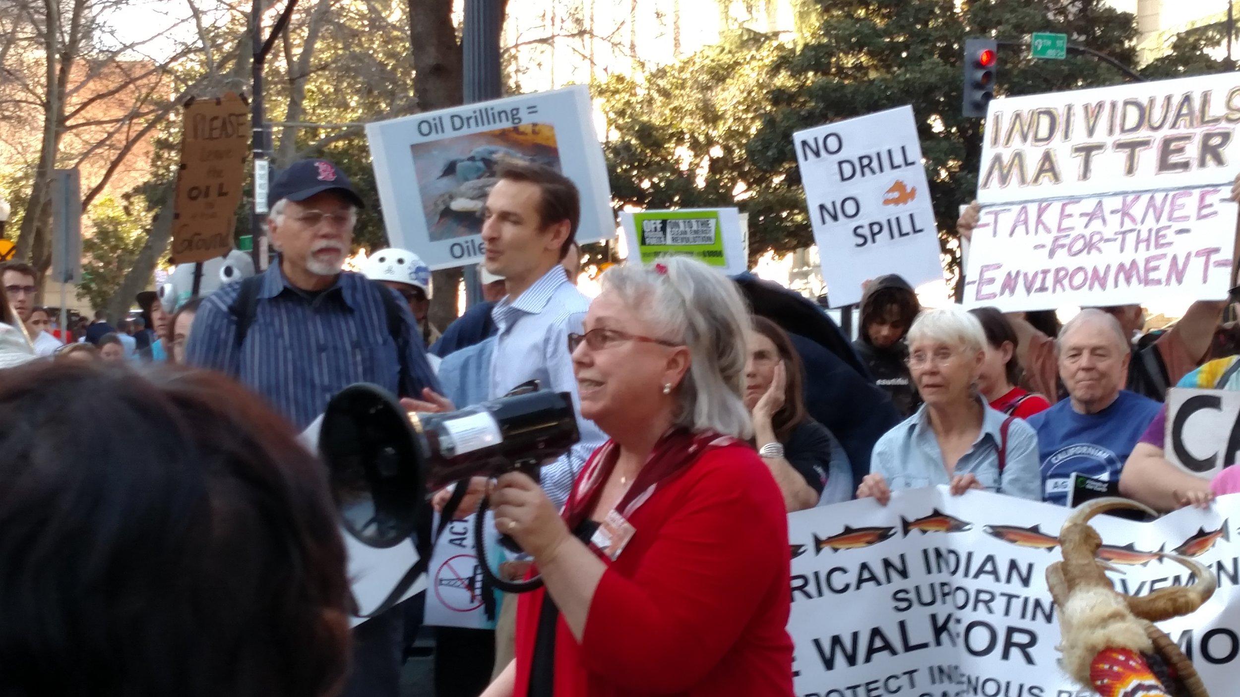 Demonstrators gather outside Sacramento. [photo credit: Gabrielle Dolphin]