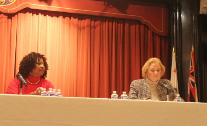 Pamela Price (left) and Nancy O'Malley (left) at the City of Alameda Democratic Club Debate. [Photo Credit:Mike Katz-Lacabe]