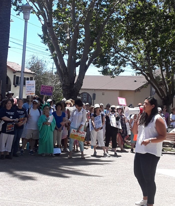 Vice Mayor of the City of Alameda as well as Co-President of the CADC Malia Vela addresses a crowd of Alamedans.