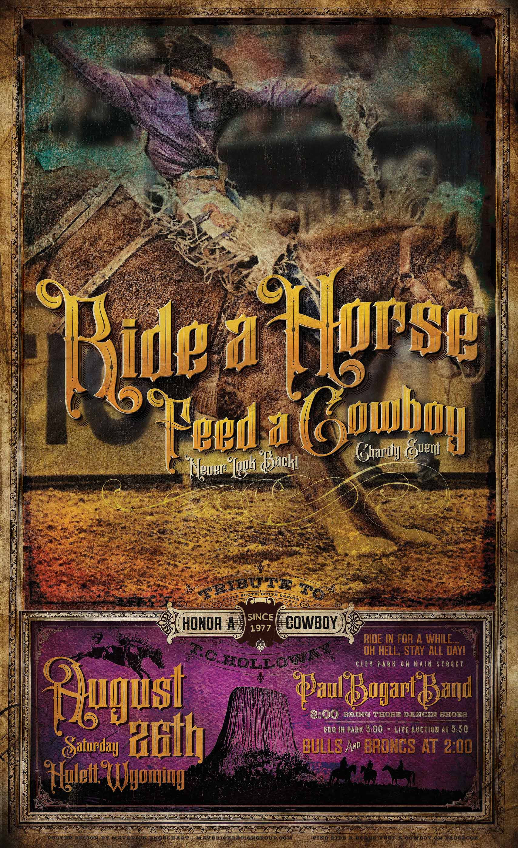 2017 Ride A Horse Feed A Cowboy Poster Design