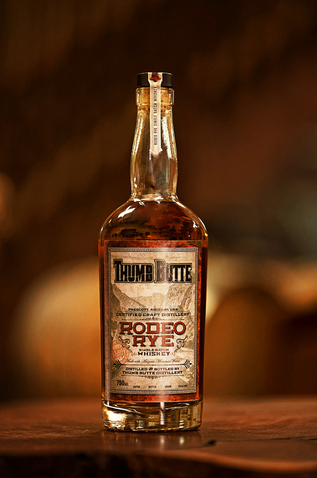 Label design for Thumb Butte Distillery Rodeo Rye Whiskey