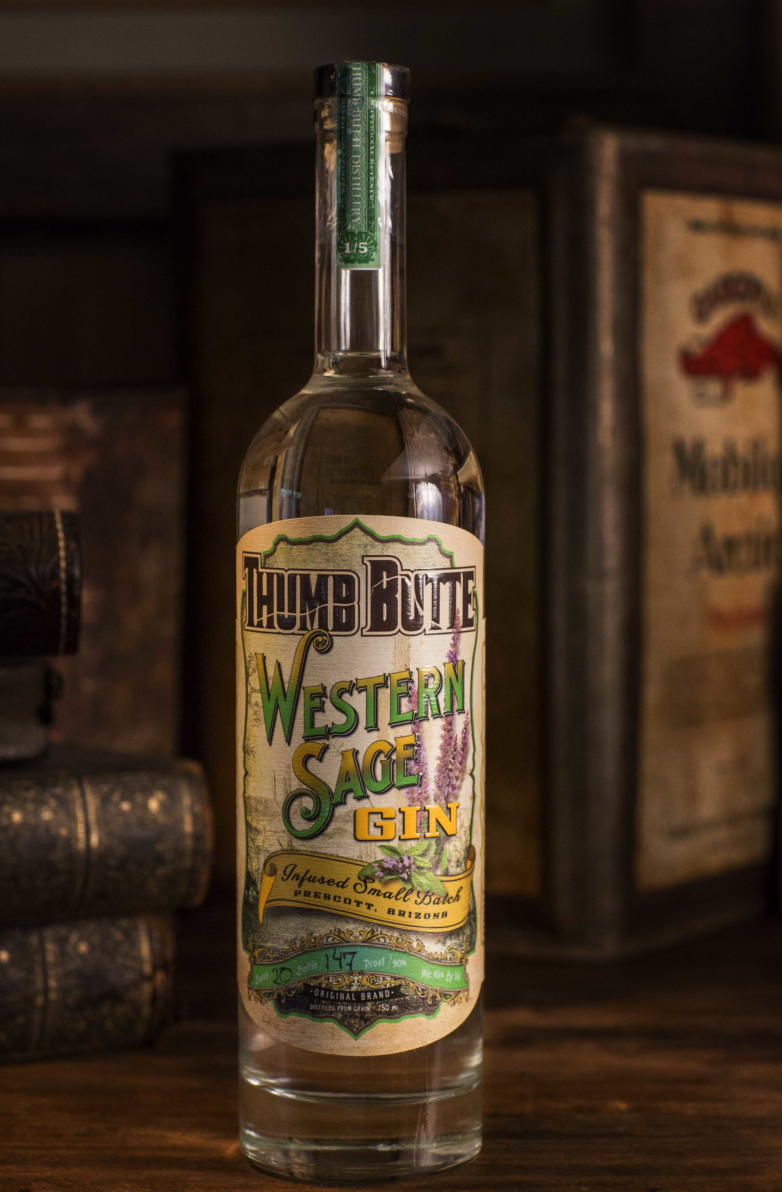 Bottle label design for Thumb Butte Distillery Western Sage Gin