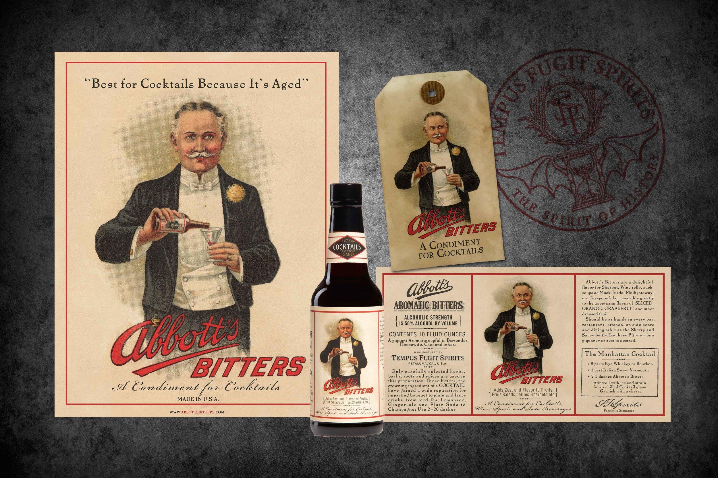 Abbott's Bitters Packaging for Tempus Fugit Spirits done by Maverick Design