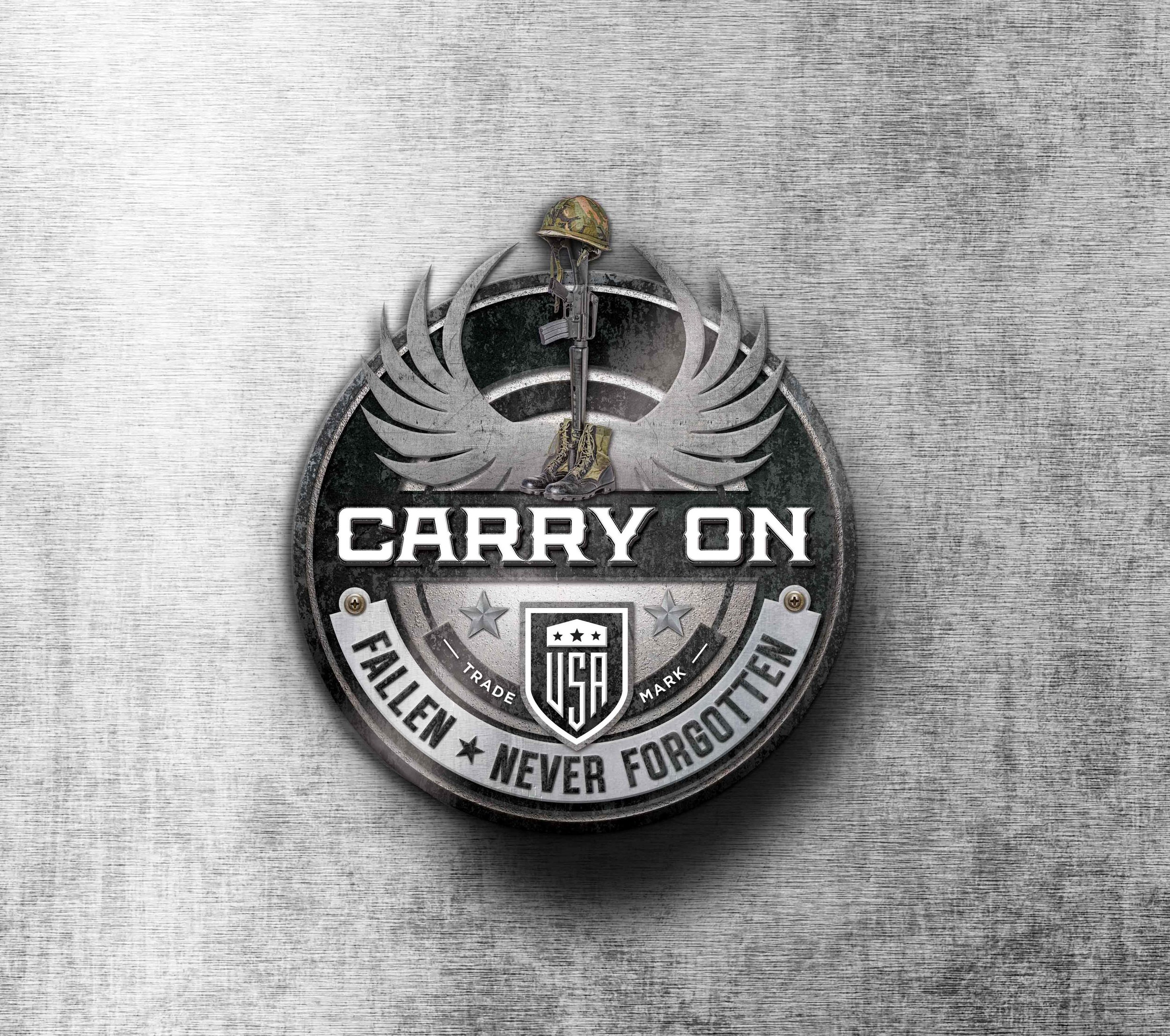 Logo design for Carry On. Organization helping Veterans across the USA.