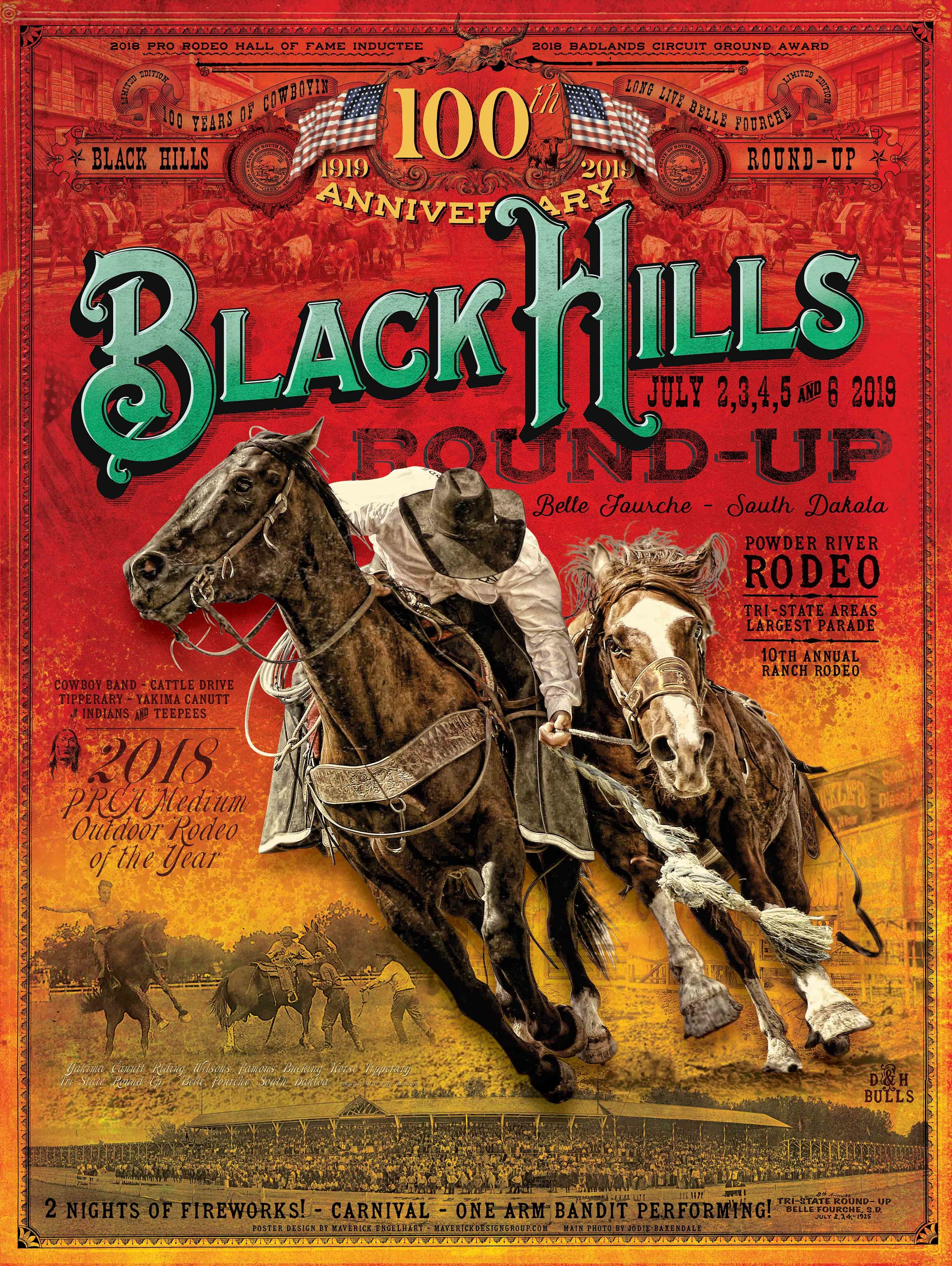 "100 Anniversary Black Hills Round-Up Rodeo Poster - 24""x32"""