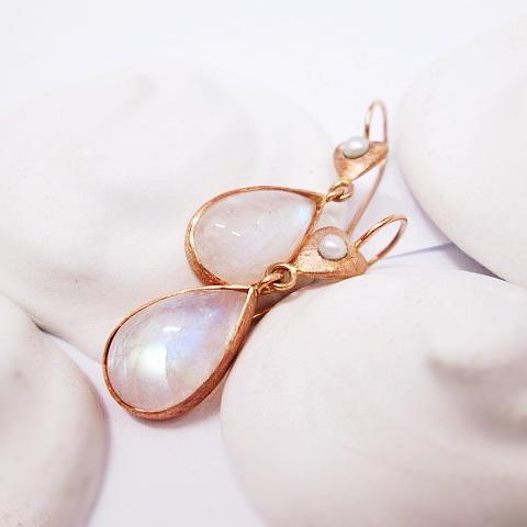 Náušnice růžové zlato 585/1000, přírodní měsíček, perlička.