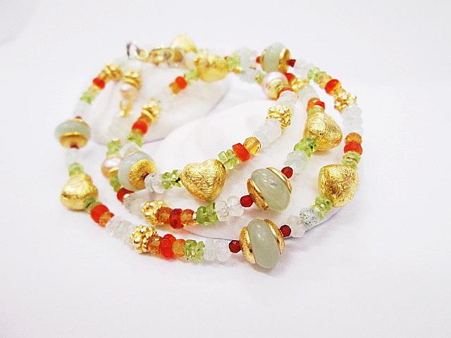Náhrdelník z přírodních kamenů,jade,ohnivý opál,olivín,perla,zlacené komponenty ze stříbra 925,1000..JPG
