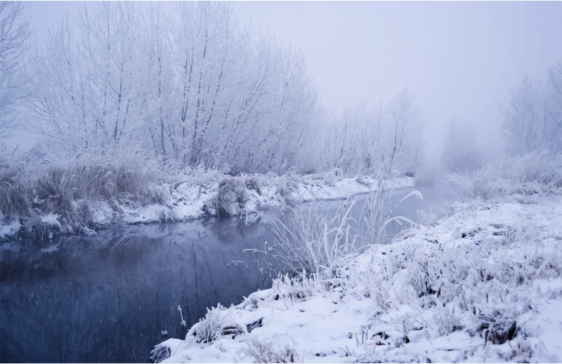 Winter river scene.