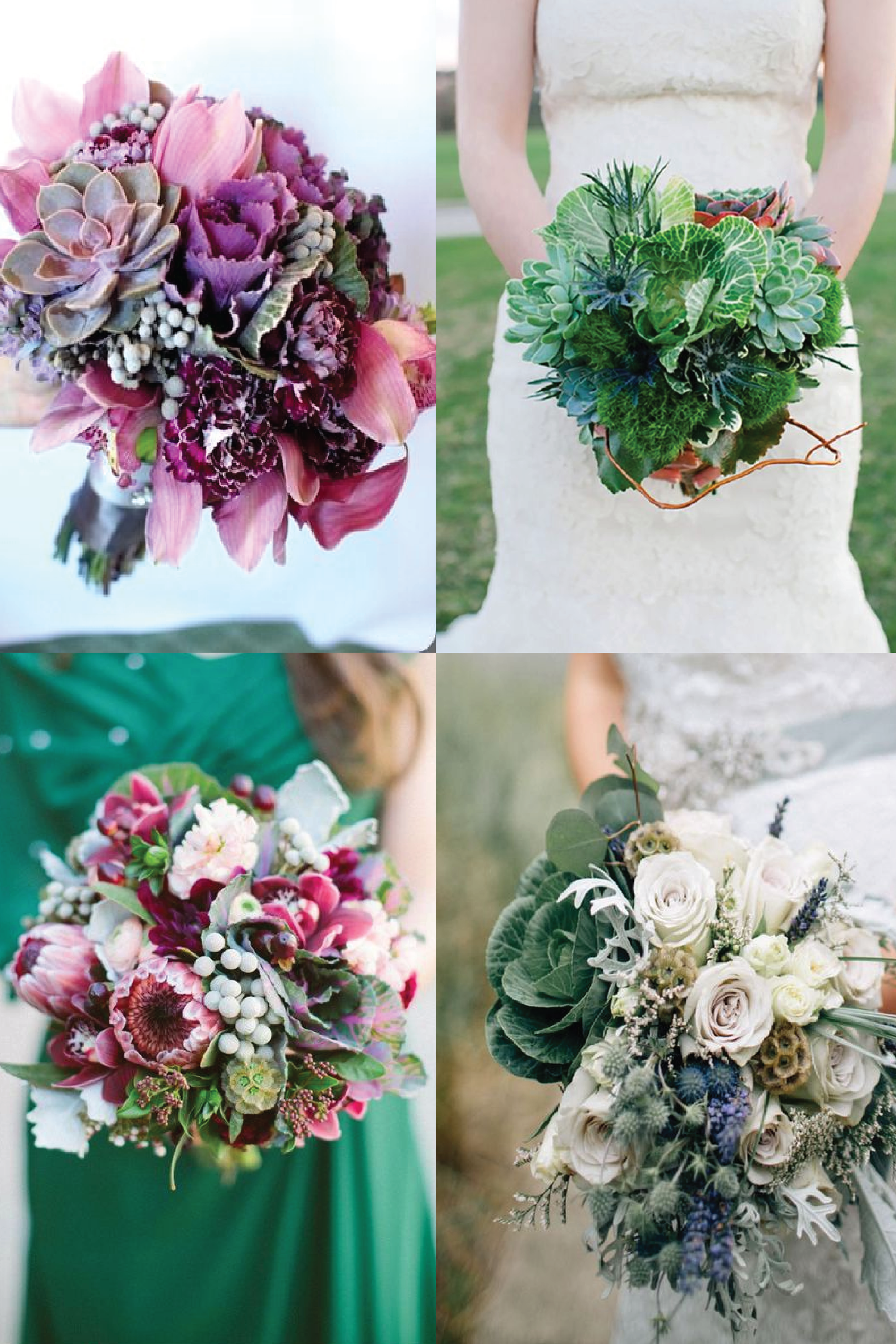 From clockwise, from top left:  flowers by  Lush Couture Design ; photo by  Elissar ; flowers by  Spellbound Flowers  and photo by  Bethany Small ; photo via  Intimate Weddings .