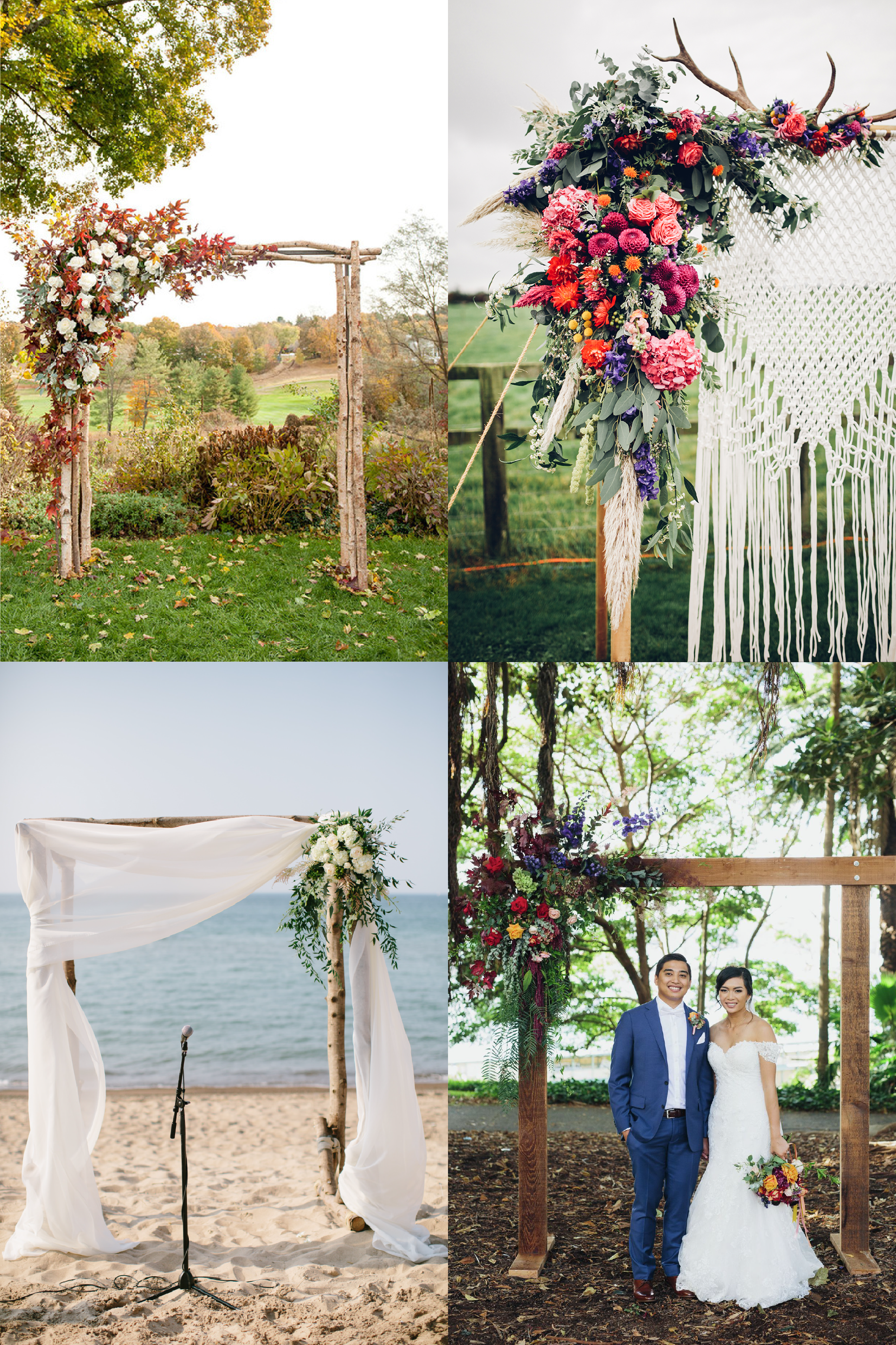 FROM CLOCKWISE, FROM TOP LEFT: Photo by  Mikkel Paige   ,   Floral Design by  Swaffham and Fakenham Florists  and Photo by  Darina Stoda Photography , Flower Design by  Lime Tree Bower  and photo by  jack chauvel , Flower Design by   Stella Event Design  and Photo by  Katie Kett Photography .