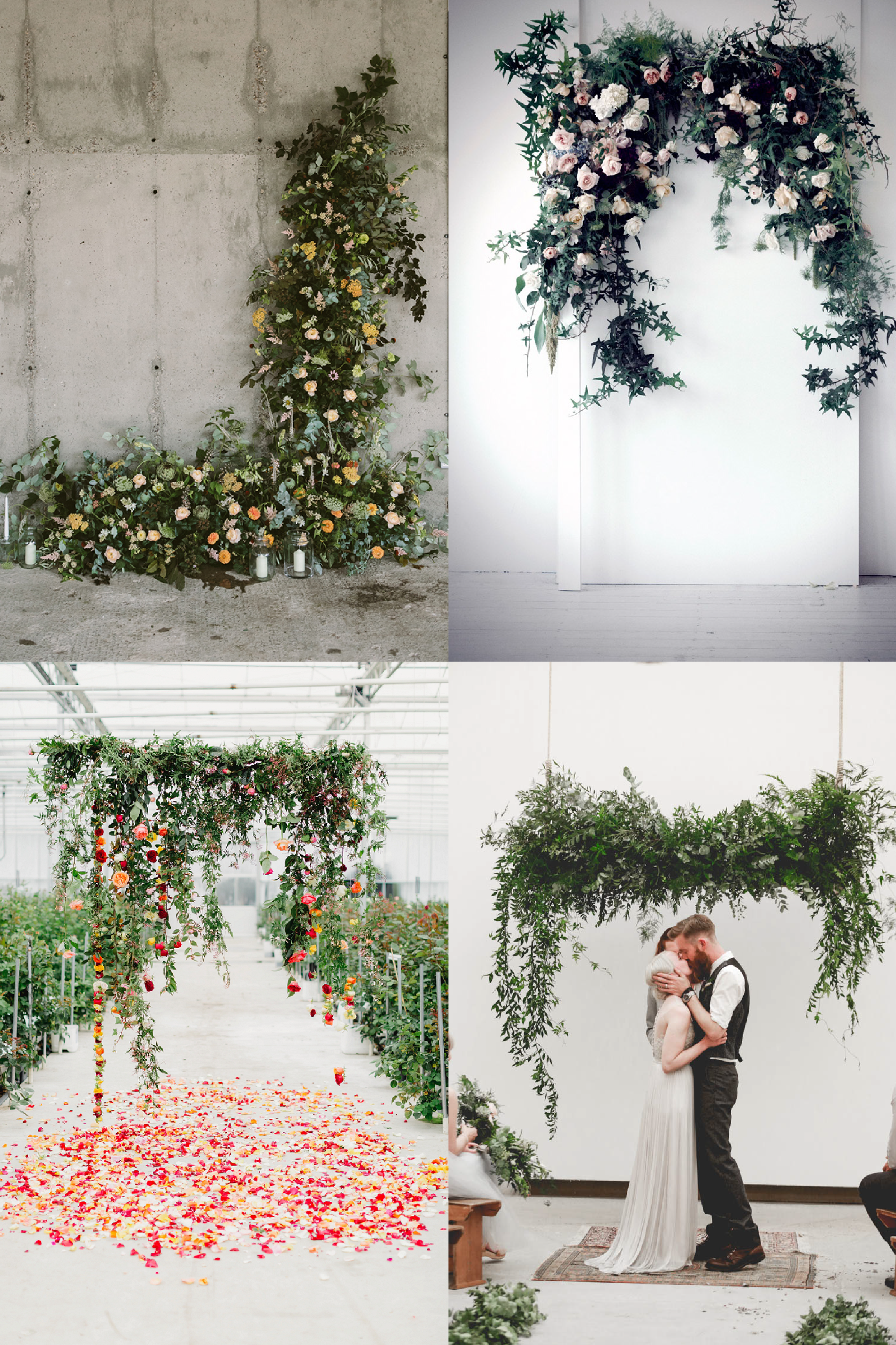 FROM CLOCKWISE, FROM TOP LEFT: Floral Design by  Anna Potter , Photo by    Sam Bisso  and Floral Design by  Fleur McHarg , Floral Design by   Isherwood and co  and Photo by  Matt and Jess , Floral Design by  Honeysuckle Rose  and Photo by   Courtney Horwood Photography .