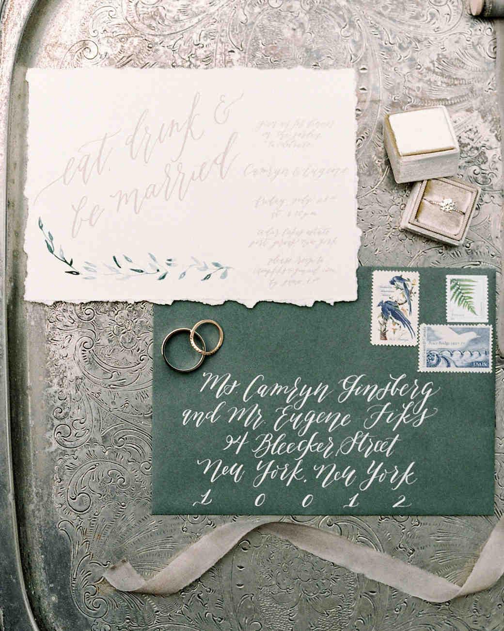 Kelsie Mallie  hand lettered invitations photographed by  Lauren Fair  via  Martha Stewart
